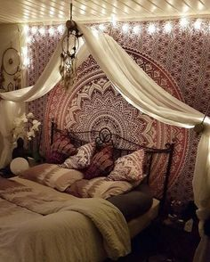 Indian Red Tapestry, Putting together a Boho bedroom may be tricky. Ideally you want your Bohemian bedroom to look colle, Bohemian Bedrooms, Bohemian Living, Bohemian Decor, Girl Bedrooms, Modern Bohemian, Bohemian Style, Hippie Boho, Bohemian Girls, Purple Bohemian Bedroom