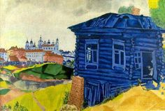 Marc Chagall, The Blue House. Oil on canvas, Musée des Beaux-Arts Liège. It was confiscated and sold by the Nazi regime at the Galerie Fischer auction in Switzerland in Marc Chagall, Artist Chagall, Chagall Paintings, Art Beauté, Fauvism, Art Moderne, Henri Matisse, Michelangelo, French Artists