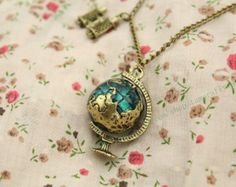 The globe with Telescope necklace vintage style steampunk jewelry antique gift