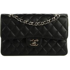 CHANEL Caviar Quilted Small Double Flap Black ❤ liked on Polyvore featuring bags, handbags, shoulder bags, chanel shoulder bag, quilted chain strap shoulder bag, shoulder handbags, evening purse and leather handbags