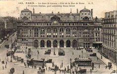 París. Carta postal. La estación de Saint-Lazare