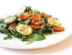 Roasted Chickpea and Vegetable Salad on a Bed of Greens
