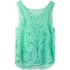 Choies Green Crochet Lace Vest with Mesh Insert ($8.99) ❤ liked on Polyvore featuring tops, green, tanks / cami's, green tank top, vest tank top, crochet lace vest, mesh panel top and camisole tops
