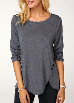 Fashion Clothes Autumn and Winter Tops Women's Causal Solid Color Irregular Shirts Round Neck Button Stitching Loose Blouses Ladies Plus Size Pullover Sweatshirts Long Sleeve Cotton T-shirts Tunic Tank Tops, Tunic Shirt, T Shirt, Tie Dye Long Sleeve, Long Sleeve Tunic, Blouses For Women, Fashion Clothes, Women's Pants, Jeans Leggings