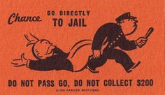 monopoly. 1936 parker brothers. community chest. go to jail