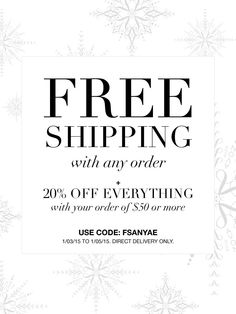 January 3-5th get Avon Free Shipping on ANY Order + 20% off  $50 or more at my Avon eStore! Use code: FSANYAE #AvonRep http://eseagren.avonrepresentative.com #avon #freeshipping #coupon