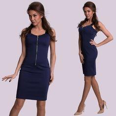e26996efb3 Sötétkék cipzáros alkalmi ruha - Női ruha webáruház, női ruhák online - HG  Fashion