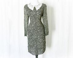 Vintage 90s Sheer Polka Dot Shift Dress L Grunge Revival - PopFizzVintage