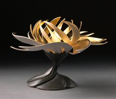 From Sherrie Gallerie by Jennifer McCurdy : Gilded Water Lily Ceramic Clay, Porcelain Ceramics, Ceramic Pottery, Pottery Art, Pottery Ideas, Pottery Sculpture, Sculpture Art, Sculptures, Jennifer Mccurdy