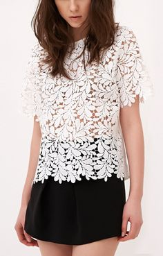 White Hollow-out Short Sleeves Lace Casaul T-shirt