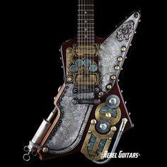 Gibsons Guitars steampunk'd by Franco Design Studio Cigar Box Guitar, Music Guitar, Cool Guitar, Ukulele, Unique Guitars, Custom Guitars, Steampunk Guitar, Guild Guitars, Gibson Explorer
