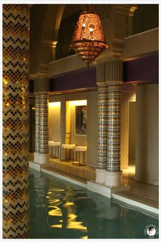 Aswan - Sofitel  - Old Cataract - Spa Indoors pool with extravagant mosaic decorated pillars  and extraordinary Andalusian Large Lantern