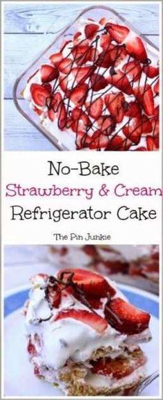 No Bake Strawberry Cream Refrigerator Cake by The Pin Junkie