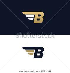 Letter B logo template. Wings design element vector illustration. Corporate branding identity