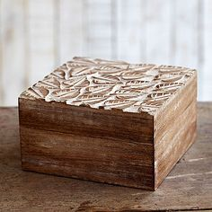 Jewellery Storage  Fair Trade Natural Mango Wood Leaf Design Box