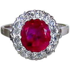 Pre-owned Fine Burma ruby  diamond ring ($18,500) ❤ liked on Polyvore featuring jewelry, rings, cluster rings, pre owned diamond rings, ruby jewelry, diamond jewelry, engagement rings and art deco jewelry