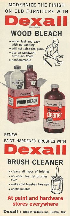 Old Ads Are Funny: 1961 Ad: Modernize the finish on old furniture with Dexall Wood Bleach