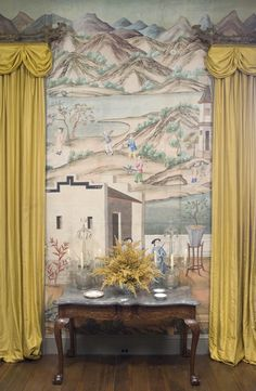 Chinese wallpaper depiciting landscape with large buildings in the foreground, in the Chinese Parlor, Winterthur, via Jane Love.
