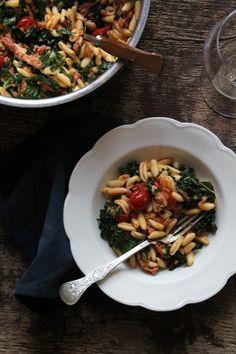 Pasta med chorizo og grønnkål
