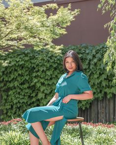 A rayon, button-down dress with a collared neckline, 2 front pockets, mid-calf length, ribbon belt, and thigh-high side slits #effortless #style #australia #slits #buttondown Ribbon Belt, Button Down Dress, Thigh Highs, Calves, Collars, Thighs, Teal, Neckline, Australia