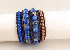 Ultramarine Blue Aqua Terra Jasper and Ultramarine Blue Howlite and Copper Bead Black Leather Wrap Bracelet #jasper