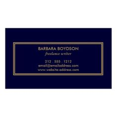 VINTAGE MODERN GOLD and NAVY INITIAL MONOGRAM LOGO Business Card
