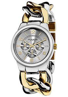 a876cabef5ce88 Akribos Xxiv Women s Twist Chain Quartz Multifunction Two-Tone Watch