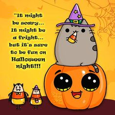 Starting off the Halloween celebration with some candy corn and ofcourse Pusheen! :) Now being spooky at youtube.com/drawsocute #pusheen #cutehalloween #candycorn