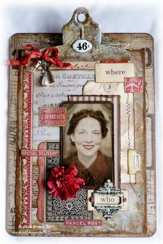 Mixed media altered clipboard by Brenda Brown via Marjie Kemper's Tuesday's Texture Blog Series, Week 41