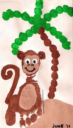 Make a Footprint Monkey Craft on a beach with a Fingerprint Palm Tree. Fun for Preschoolers and toddlers. Cute for a baby's nursery!
