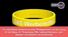 Jetzt bestellen auf ownband.de #ownband #individuelleSilikonarmbänder #Messe #Geschenk #Werbung #FiBo
