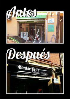 Antes y Después del rediseño de la fachada de Montse Ortiz