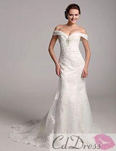 Elegant Trumpet/ Mermaid Off-the-shoulder Organza Over Satin Beach Wedding Dress - Beach Wedding Dresses - Wedding Dresses - CDdress.com