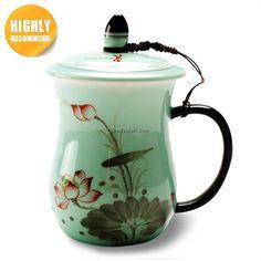 Longquan Celadon Lotus Chinese Tea Cup Tea Cup With Lid, Chinese Tea Cups, Coffee Cups, Coffee Maker, Dragon Tea, Tea Mugs, Bone China, Lotus, Teapots