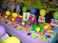 """Barney"" Party Table (Treasures and Tiaras Kids Parties) Tags: barney barneyparty Barney Birthday Party, Barney Party, 3rd Birthday Parties, Birthday Fun, Birthday Ideas, Birthday Themes For Boys, Birthday Pictures, Childrens Party, Party Time"