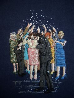 'They could feel themselves shining in the dark', embroidery art by Michelle Kingdom.