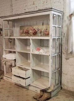Shabbiest of Chic / Upscale Country * Fabulous DIY Decorating Inspiration- Repurposed Materials {Doors, Pallets, Wood} Turned Shelving You Want To See!! Love this!