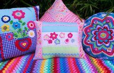PATCHWORK PILLOW Crochet cushion Crochet by KerryJayneDesigns