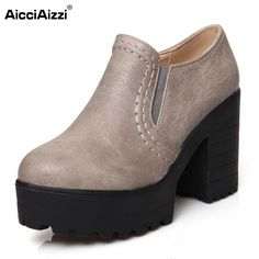 Size 34-46 Women Ankle Boots Vintage Square High Heels Party Casual Outdoor Dress Shoes Less Platform Motorcycle Boots