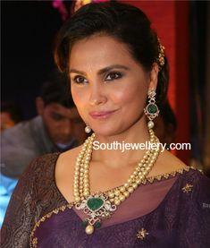Lara Dutta in South Sea Pearl and Diamond Necklace Set
