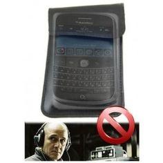 Husa de piele neagra anti ascultare telefoane mobile model JAMH-211 prevazuta cu 2 buzunare , unul pentru protectia telefoanului (husa normala ) si unul ce blocheaza semnalul gsm si gps .