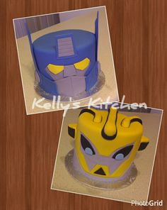 Transformer rescue bots Optimus Prime & Bumble Bee created for twin boys turning 5.  The cakes are both cream cheese pound cake with vanilla buttercream, covered with fondant & fondant details.  The one little guy squealed when he saw them!  Too cute.  (December 2014)