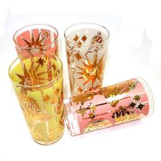 Vintage pink yellow gold Christmas drinking glasses