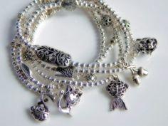 B217  Set of Five Stretch Bracelets w/Charms by Yvets on Etsy, $15.00