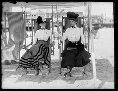 vintage everyday: Ladies enjoying their swinging chairs on an Atlantic City beach, ca. 1905
