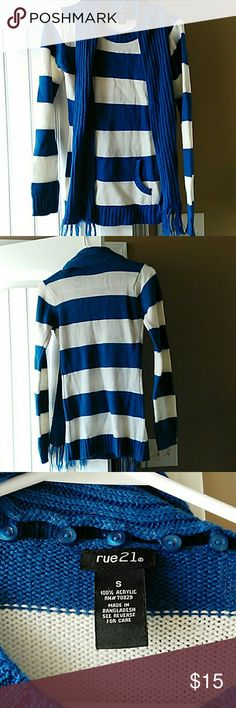 Sweater with attachable or detachable scarf Royal blue and white horizontal striped sweater with a front pocket and a detachable matching scarf very cute and trendy great fit Rue 21 Sweaters Crew & Scoop Necks