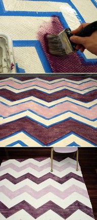 A DIY chevron rug.