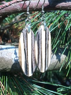 Resin Stripe And Buckeye Burl Wood Earrings by forestlifecreations on Etsy