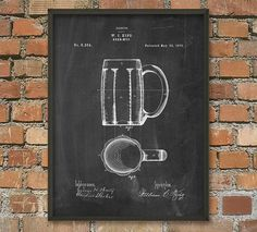 Beer Mug Patent Wall Art Poster by QuantumPrints on Etsy