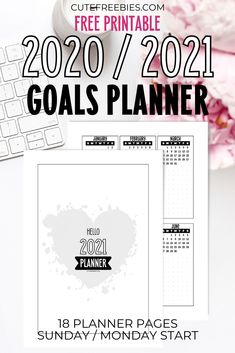 Free Printable Goal Setting Planner Template for 2020 and 2021 - bullet journal goals planner printable PDF Bullet Journal Kit, Bullet Journal Goal Setting, Bullet Journal Printables, Journal Template, Planner Template, Bullet Journals, Schedule Templates, Planner Stickers, Printable Planner Pages